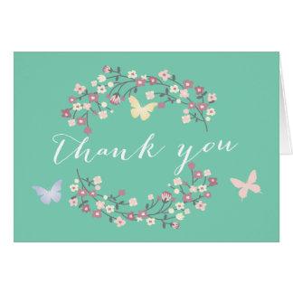 Cartes florales vertes de Merci de baby shower de