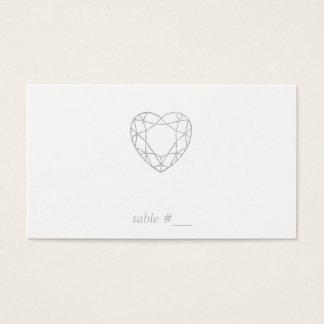 Cartes géométriques argentées d'endroit de coeur -
