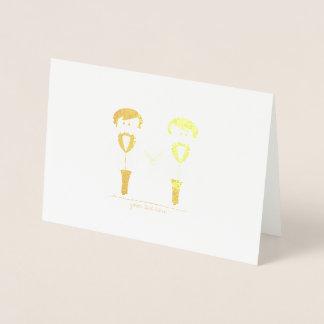 Cartes gravées à l'eau-forte de marié de feuille