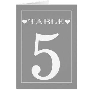 Cartes grises de nombre de Tableau de mariage de