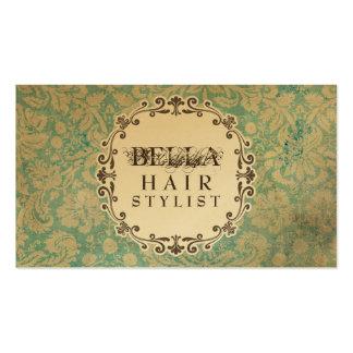 Cartes grunges de rendez-vous de coiffeur de damas carte de visite standard