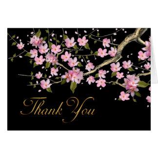 Cartes japonaises roses de Merci de fleurs de