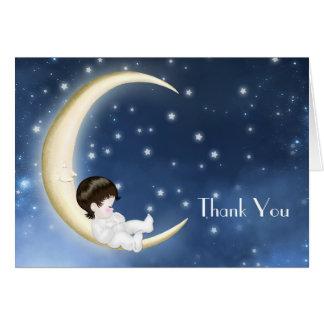 Cartes jaunes bleues de Merci de bébé de lune