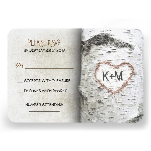 Cartes les épousant rustiques de l'arbre de boulea cartons d'invitation personnalisés