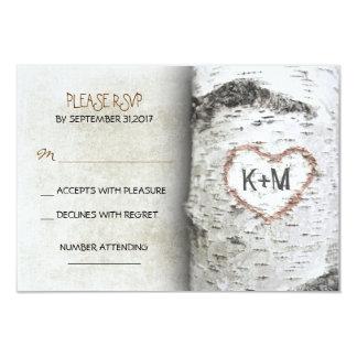 Cartes les épousant rustiques de l'arbre de carton d'invitation 8,89 cm x 12,70 cm