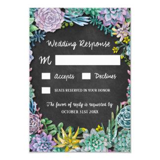 Cartes les épousant rustiques de Succulent et de Carton D'invitation 8,89 Cm X 12,70 Cm