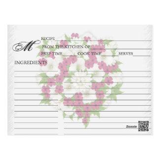 Cartes magenta simples de recette de bouquet de