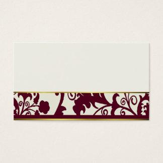 Cartes marron et crèmes d'endroit de damassé carte de visite standard
