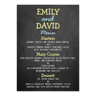 Cartes modernes de menu de mariage de typographie carton d'invitation  11,43 cm x 15,87 cm