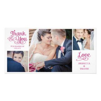 Cartes modernes de Merci de mariage de calligraphi Modèle Pour Photocarte
