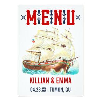 Cartes nautiques vintages de menu de mariage carton d'invitation  12,7 cm x 17,78 cm