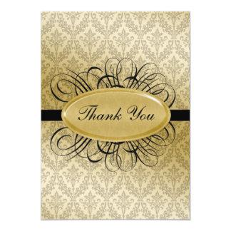 cartes noires de mariage damassé merci carton d'invitation  12,7 cm x 17,78 cm