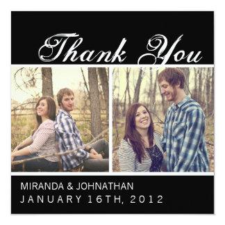 Cartes noires de Merci de mariage de photo Carton D'invitation 13,33 Cm