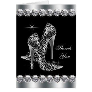 Cartes noires élégantes de Merci de chaussure de