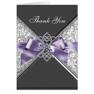 Cartes noires pourpres de Merci de damassé de