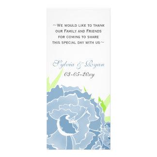 cartes personnalisées florales bleues de menu