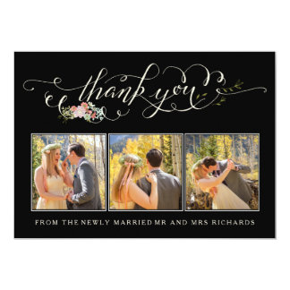 Cartes photos floraux de Merci de mariage de Carton D'invitation 12,7 Cm X 17,78 Cm