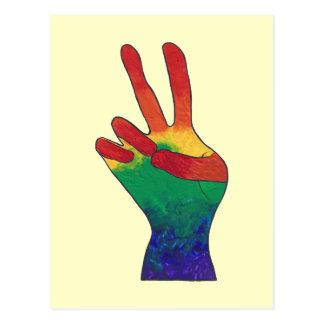 Cartes postales abstraites de signe de main de