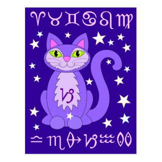 Cartes postales bleues de minuit de chat de
