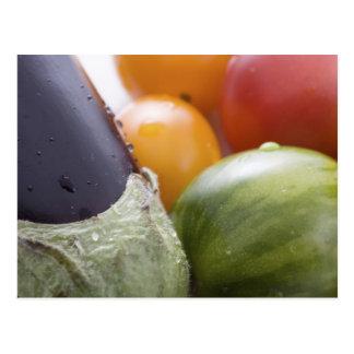 Cartes postales d'aubergine et de tomate