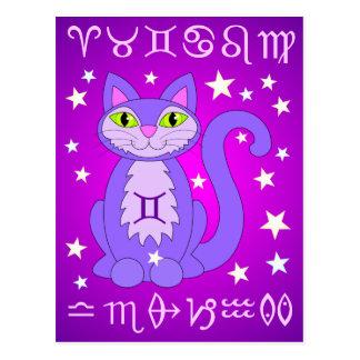 Cartes postales de pourpre de chat de zodiaque de