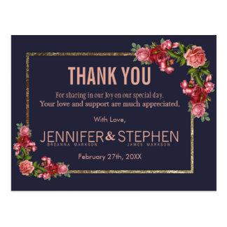 Cartes postales florales de Merci d'or de rose de