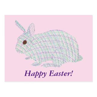 Cartes postales heureuses de lapin de plaid de