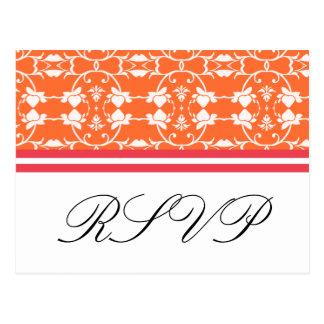 Cartes postales oranges du rose RSVP de framboise