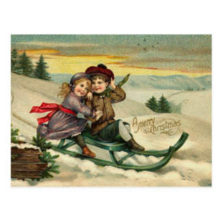 Cartes postales Sledding de Noël victorien