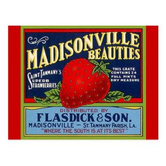 Cartes postales vintages de caisse de fraise de LA