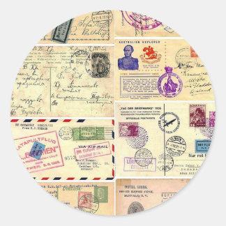 Cartes postales vintages de voyage sticker rond