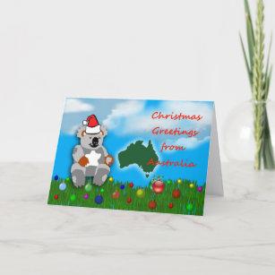 Carte Noel Australie.Cartes Pour Fetes Annuelles Noel Australien Marsupial De Koala De Noel