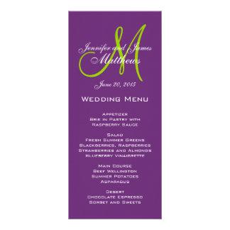 Cartes pourpres de menu de mariage de monogramme