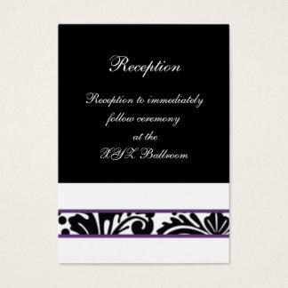 cartes pourpres de réception de mariage de