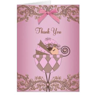 Cartes roses adorables de Merci de baby shower de