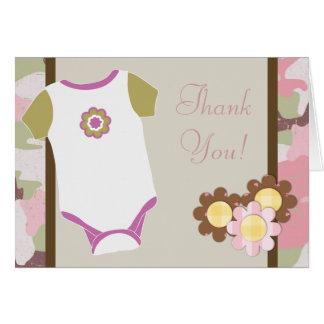 Cartes roses de Merci de baby shower de