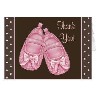 Cartes roses de Merci de baby shower de Brown