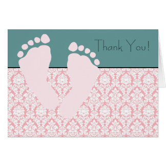 Cartes roses de Merci de baby shower de damassé de