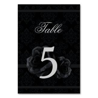 Cartes roses de nombre de table de mariage de soie