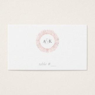 Cartes roses élégantes d'endroit de monogramme