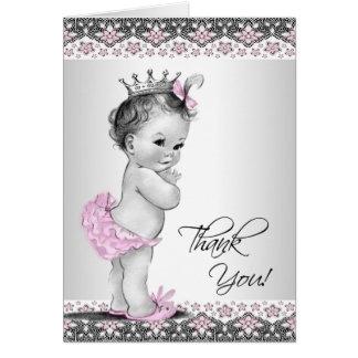 Cartes roses vintages de Merci de princesse baby