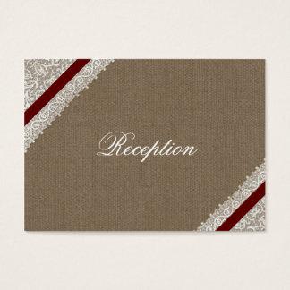 Cartes rouges de réception de mariage de dentelle