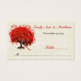 Cartes rouges d'endroit de Tableau d'arbre de
