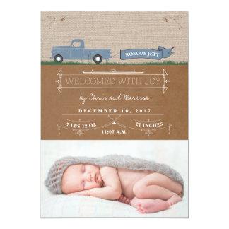 Cartes rustiques de faire-part de bébé de camion