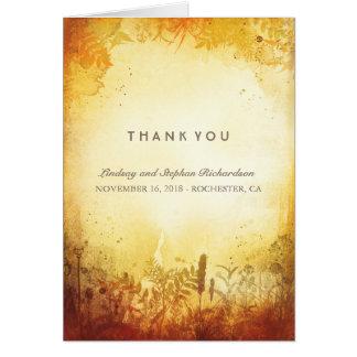 Cartes rustiques de Merci de mariage de automne de