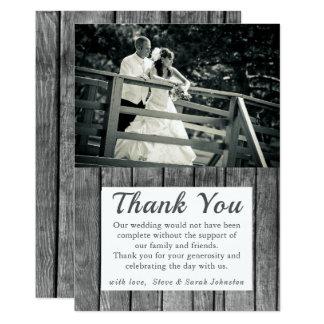 Cartes rustiques de Merci de photo de mariage