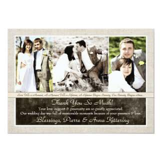 Cartes rustiques de Merci de photo du mariage Carton D'invitation 12,7 Cm X 17,78 Cm