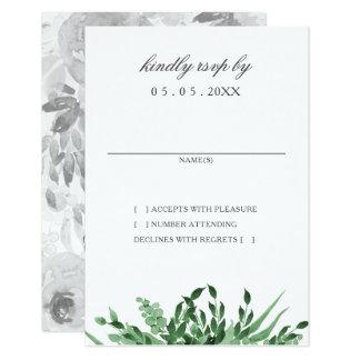 Cartes simples de rsvp de mariage de verdure
