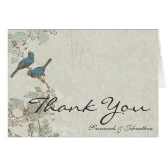 Cartes turquoises vintages de Merci de damassé