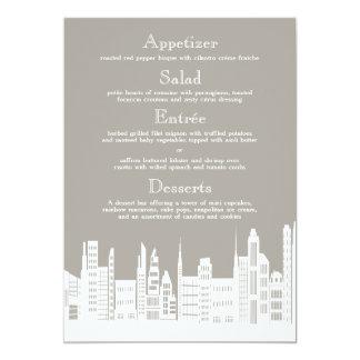 Cartes urbaines de menu de mariage de ville carton d'invitation  12,7 cm x 17,78 cm
